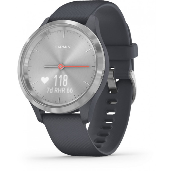 GARMIN Vivomove 3S Granite Blue Silicone and Silver hybridiälykello 010-02238-00
