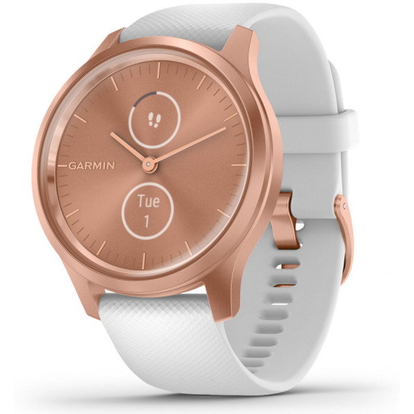 GARMIN Vivomove Style White Silicone and Rose Gold hybridiälykello 010-02240-00