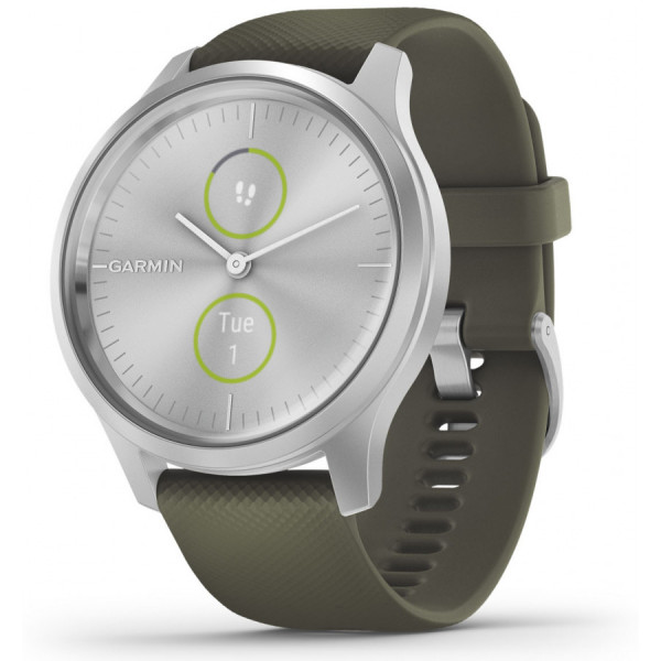 GARMIN Vivomove Style Moss Green Silicone and Silver hybridiälykello 010-02240-01