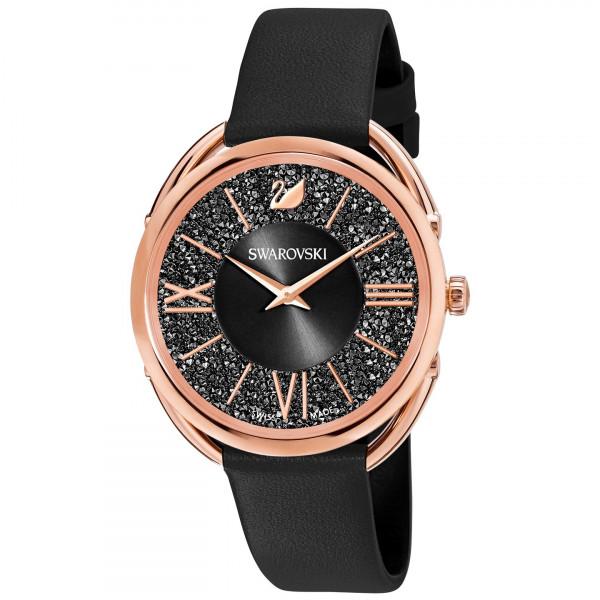 SWAROVSKI Crystalline Glam Watch, Leather Strap, Black, Rose gold tone 5452452
