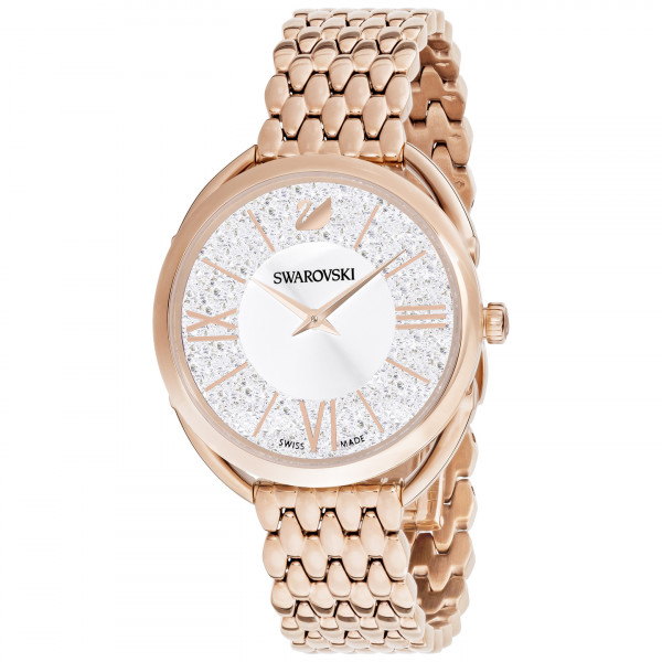 SWAROVSKI Crystalline Glam Watch, Leather Strap, Black, Rose gold tone 5452452