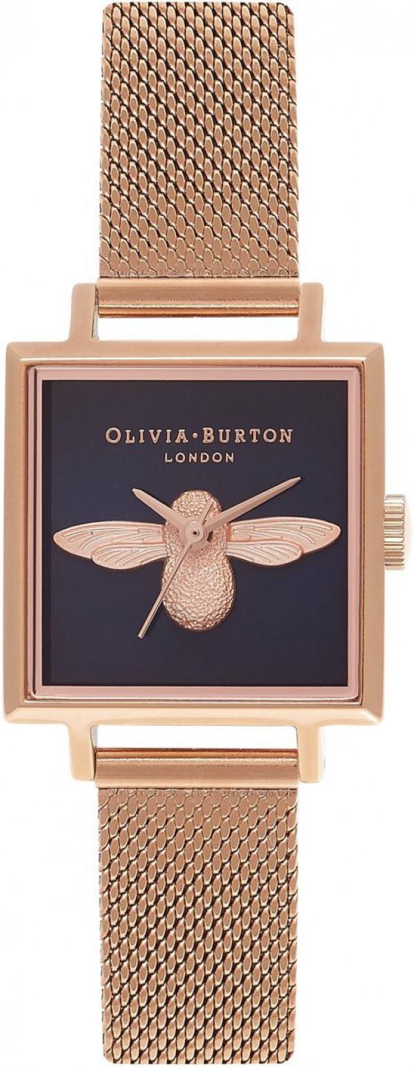 OLIVIA BURTON Square Dial 3D Bee Midnight & Rose Gold Mesh OB16AM96