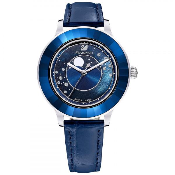 SWAROVSKI Octea Lux Moon Watch, Leather Strap, Dark blue, Stainless steel 5516305