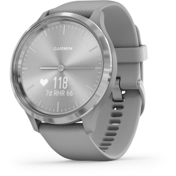 Garmin Vivomove 3 Powder Gray Silicone and Silver hybridiälykello 010-02239-00