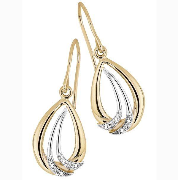 BRILLIANT STAR kultakorvakorut timanteilla