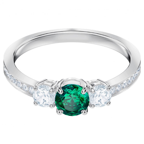 SWAROVSKI Attract Trilogy Round Ring, Green, Rhodium plating 5448893