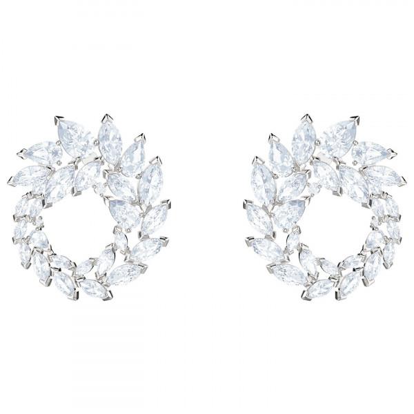 SWAROVSKI Louison Hoop Pierced Earrings, White, Rhodium plating 5419245