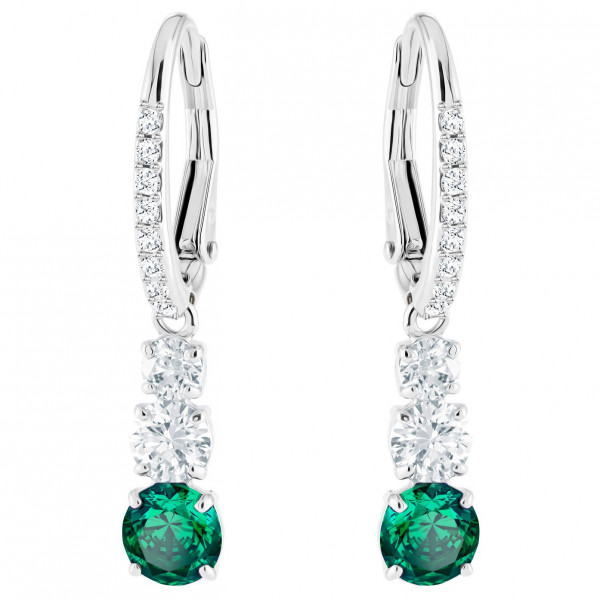 SWAROVSKI Attract Trilogy Round Pierced Earrings, Green, Rhodium plating 5414682