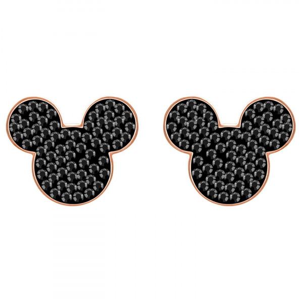 SWAROVSKI Mickey & Minnie Pierced Earrings, Black, Rose gold plating 5435137
