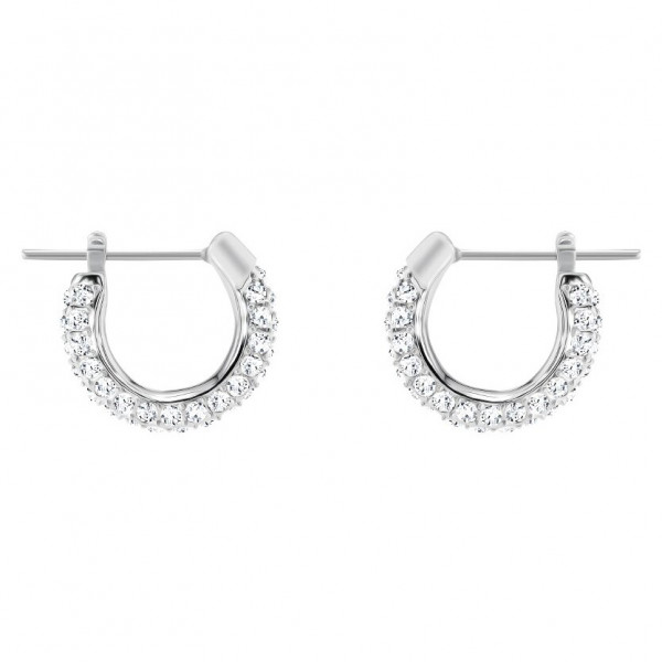 SWAROVSKI Stone Pierced Earrings, Small, White, Rhodium plating 5446004
