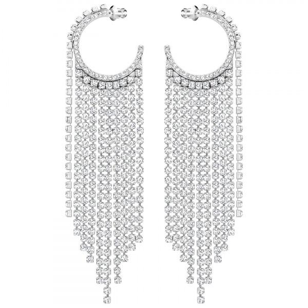 SWAROVSKI Fit Hoop Pierced Earrings, White, Rhodium plating 5421821