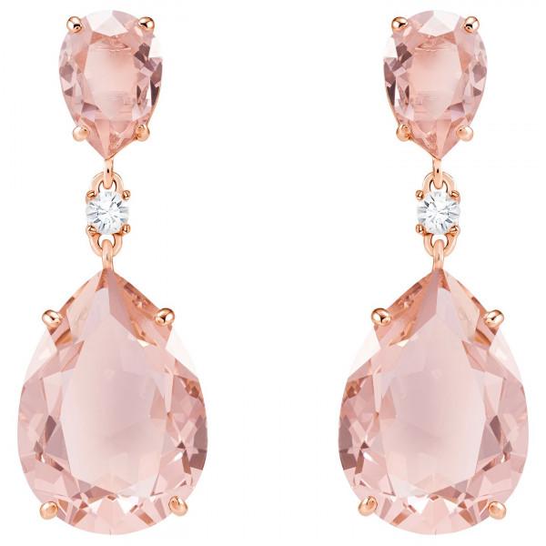 SWAROVSKI Vintage Drop Pierced Earrings, Pink, Rose gold plating 5424361