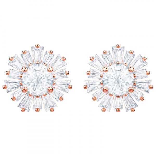 SWAROVSKI Sunshine Pierced Earrings, White, Rose gold plating 5459597