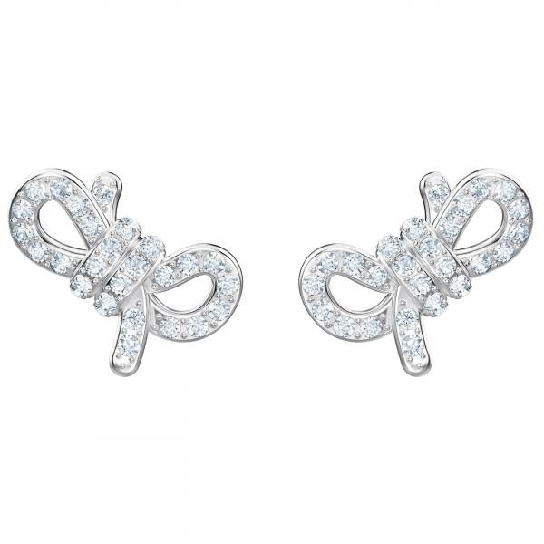 SWAROVSKI Lifelong Bow Pierced Earrings, White, Rhodium plating 5447080