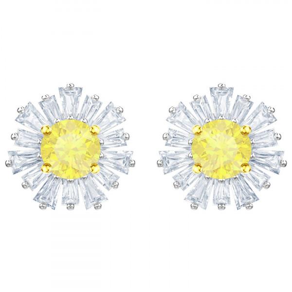 SWAROVSKI Sunshine Pierced Earrings, White, Rhodium plating 5459591