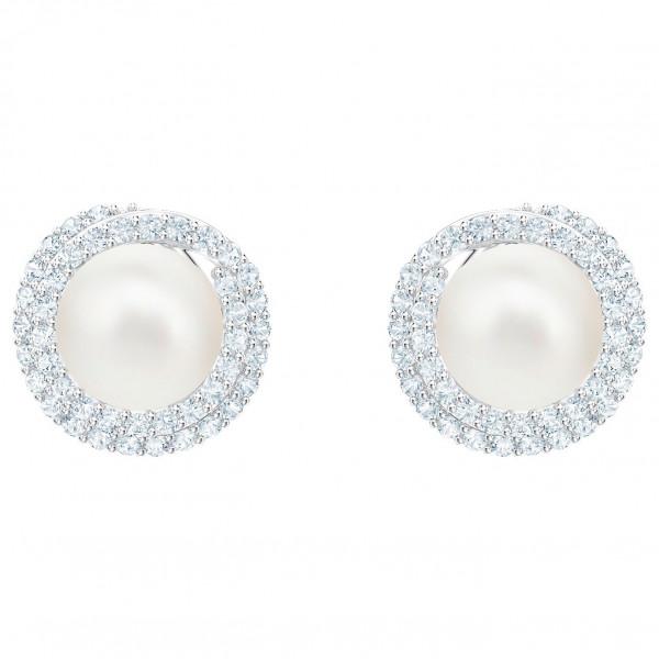 SWAROVSKI Originally Pierced Earrings, White, Rhodium plating 5461087