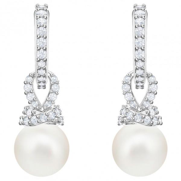 SWAROVSKI Originally Pierced Earrings, White, Rhodium plating 5461080