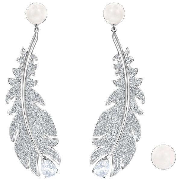 SWAROVSKI Nice Clip Earrings, White, Rhodium plated 5497866
