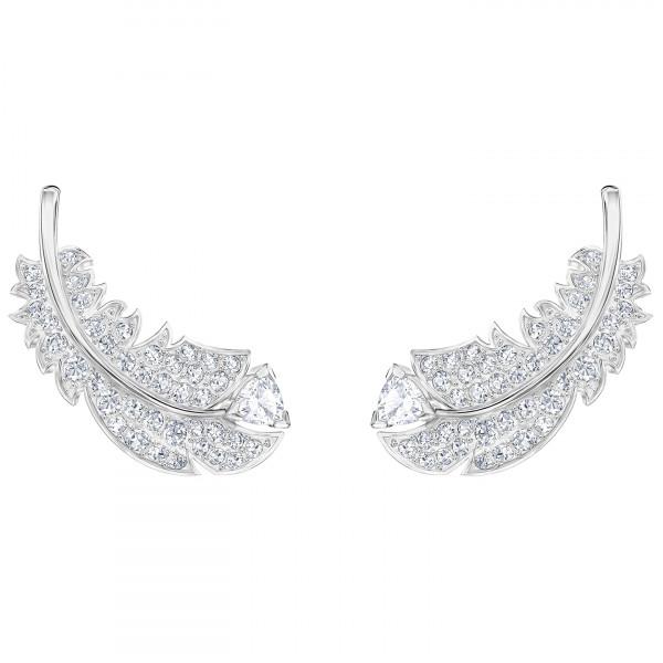 SWAROVSKI Nice Stud Pierced Earrings, White, Rhodium plated 5482912