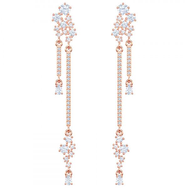 SWAROVSKI Penélope Cruz Moonsun Long Drop Earrings, White, Rose gold plating 5486635