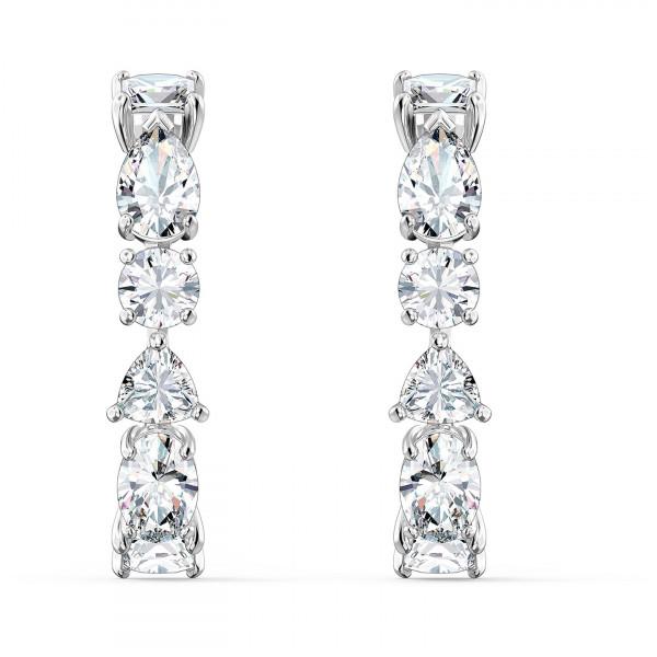 SWAROVSKI Tennis Deluxe Mixed Pierced Earrings, White, 5563322