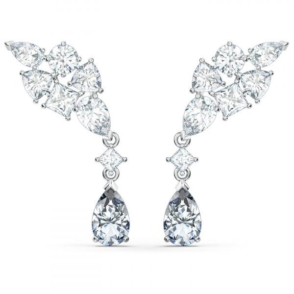 SWAROVSKI Tennis Deluxe Cluster Mixed Pierced Earrings, White, 5562086
