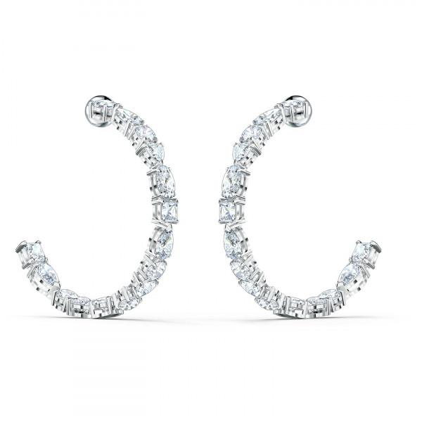 SWAROVSKI Tennis Deluxe Mixed Hoop Pierced Earrings, White, Rhodium plated 5562128