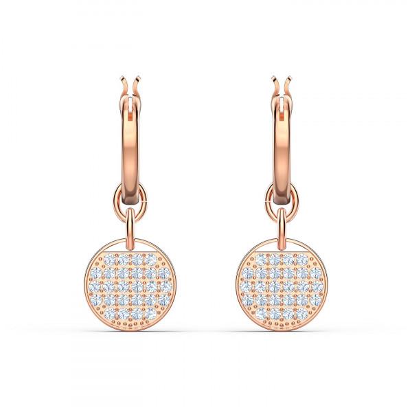 SWAROVSKI Ginger Mini Hoop Pierced Earrings, White, Rose-gold tone 5567528