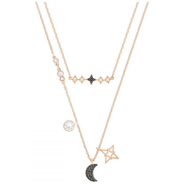 SWAROVSKI Sparkling Dance Round Necklace, Red, Rose gold plating 5279421