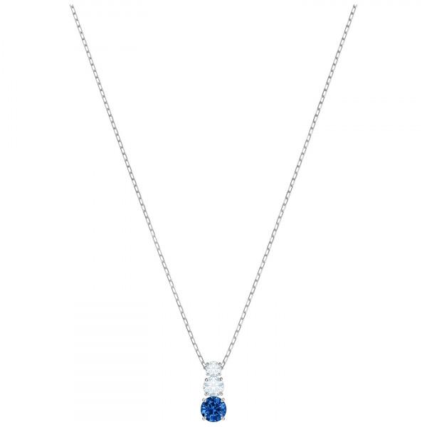 SWAROVSKI Attract Trilogy Round Pendant, Blue, Rhodium plating 5416156