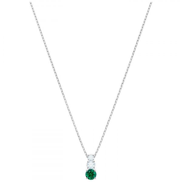 SWAROVSKI Attract Trilogy Round Pendant, Green, Rhodium plating 5416153
