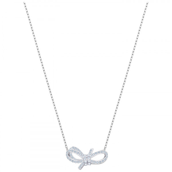 SWAROVSKI Lifelong Bow Necklace, White, Rhodium plating 5440643