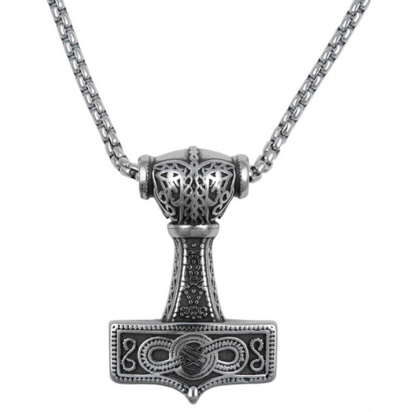 Northern Viking Jewelry NVJRS090 Eternity Knotwork Thor's Hammer kaulakoru