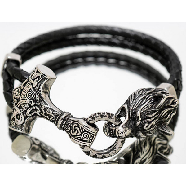 Northern Viking Jewelry Thors Hammer Wolf rannekoru NVJRA013
