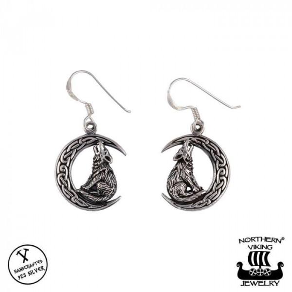 Northern Viking Jewelry NVJKK034 Moon Wolf korvakorut