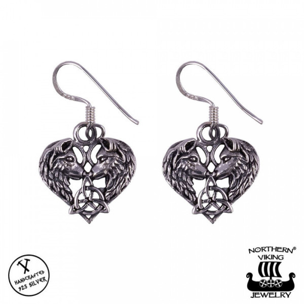 Northern Viking Jewelry NVJKK038 Heart Wolf korvakorut