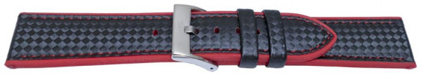 PYRY musta silikoniranneke punaiset tikkaukset 20-24mm