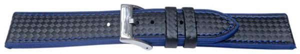 PYRY musta silikoniranneke siniset tikkaukset 20-24mm