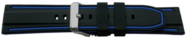 PYRY musta/sininen silikoniranneke 20-24mm