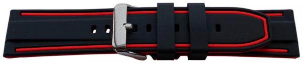 PYRY musta/punainen silikoniranneke 20-24mm