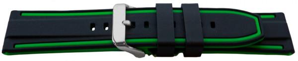 PYRY musta/vihreä silikoniranneke 20-24mm