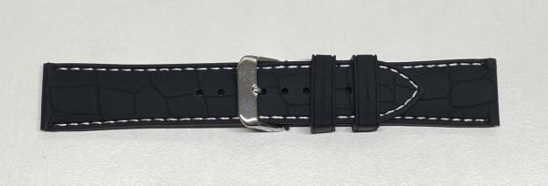 PYRY musta silikoniranneke valkoinen tikkaus ja krokokuvio 20-22mm