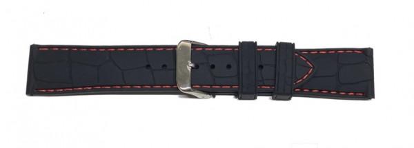 PYRY musta silikoniranneke punainen tikkaus ja krokokuvio 20-22mm