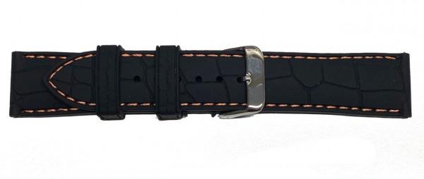 PYRY musta silikoniranneke oranssi tikkaus ja krokokuviolla 20-22mm